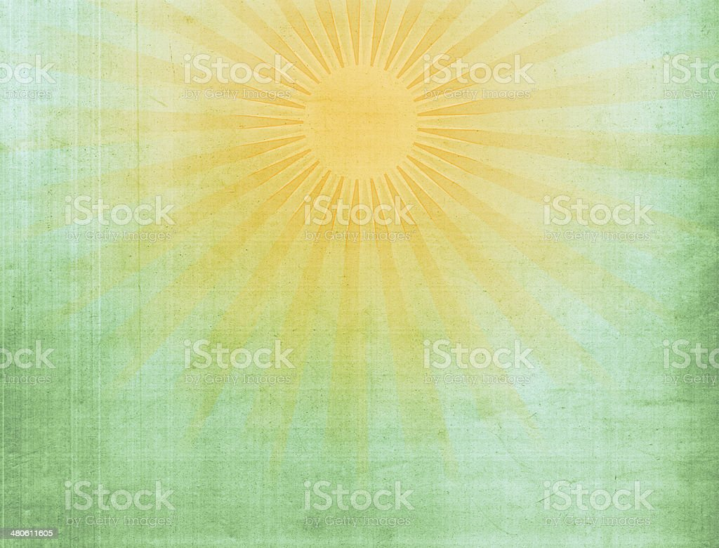 Green Tinged Vintage Sun Grunge XXXL stock photo
