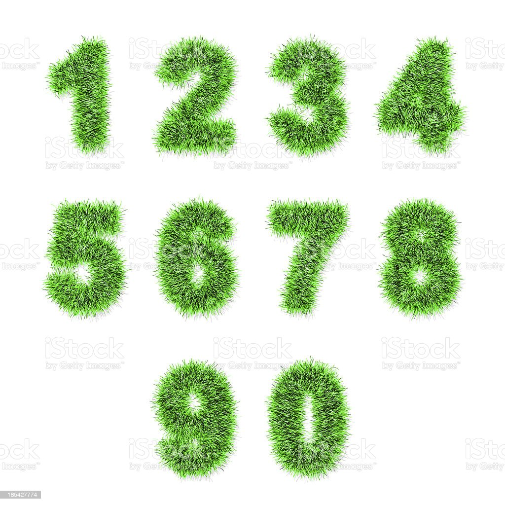 green tinsel digits on white royalty-free stock photo