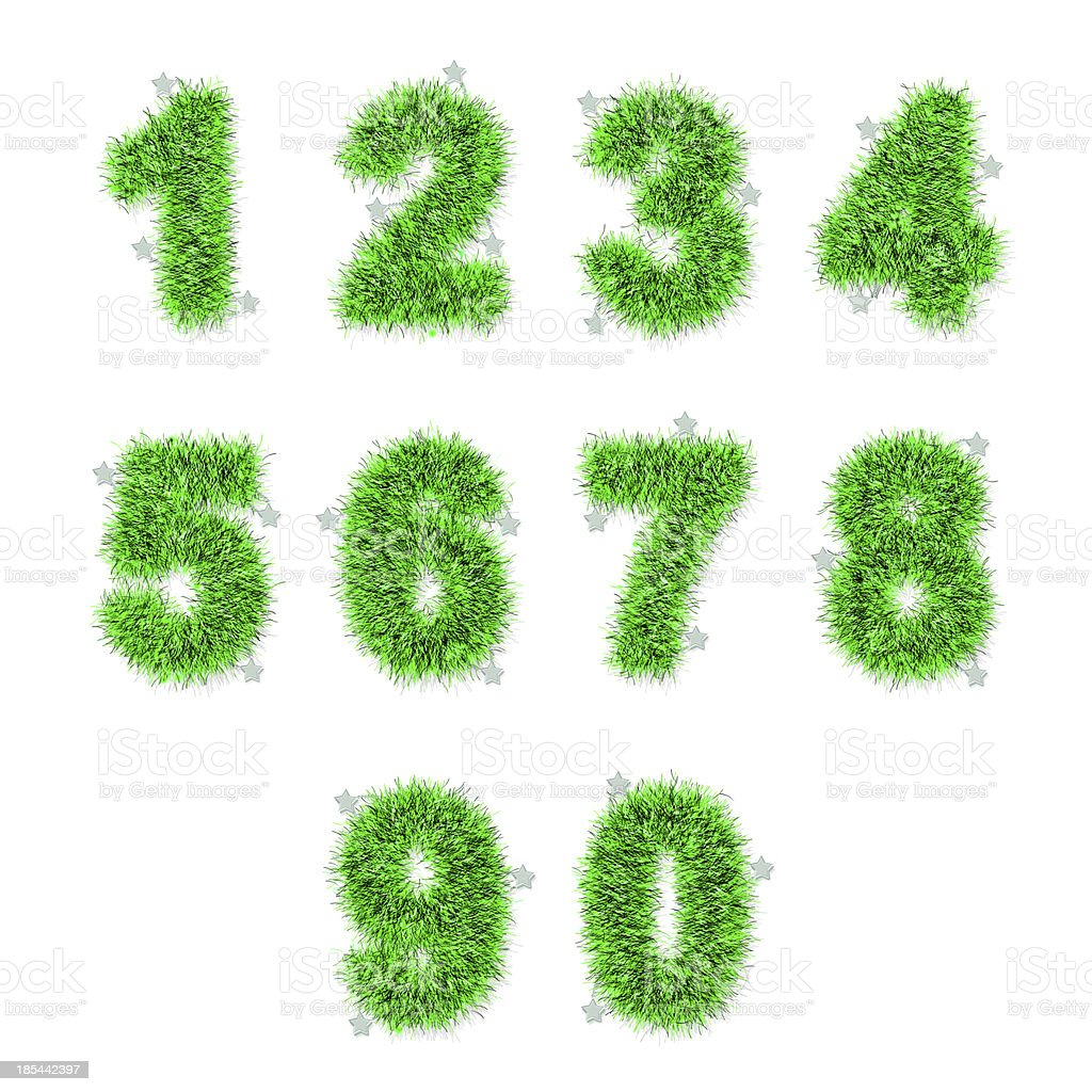 green tinsel digits with star on white royalty-free stock photo