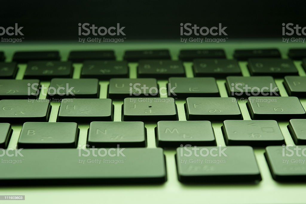 Green tinted image of Keyboard with shallow depth of field royalty-free stock photo