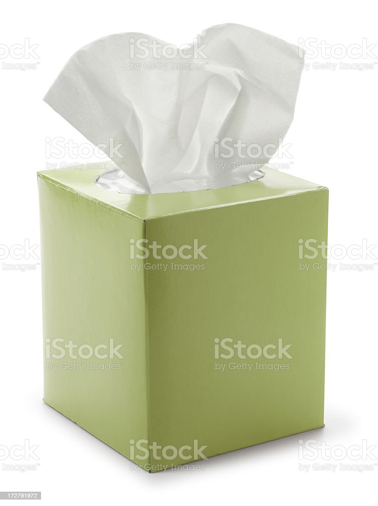 Green tissue box isolated on white background stock photo