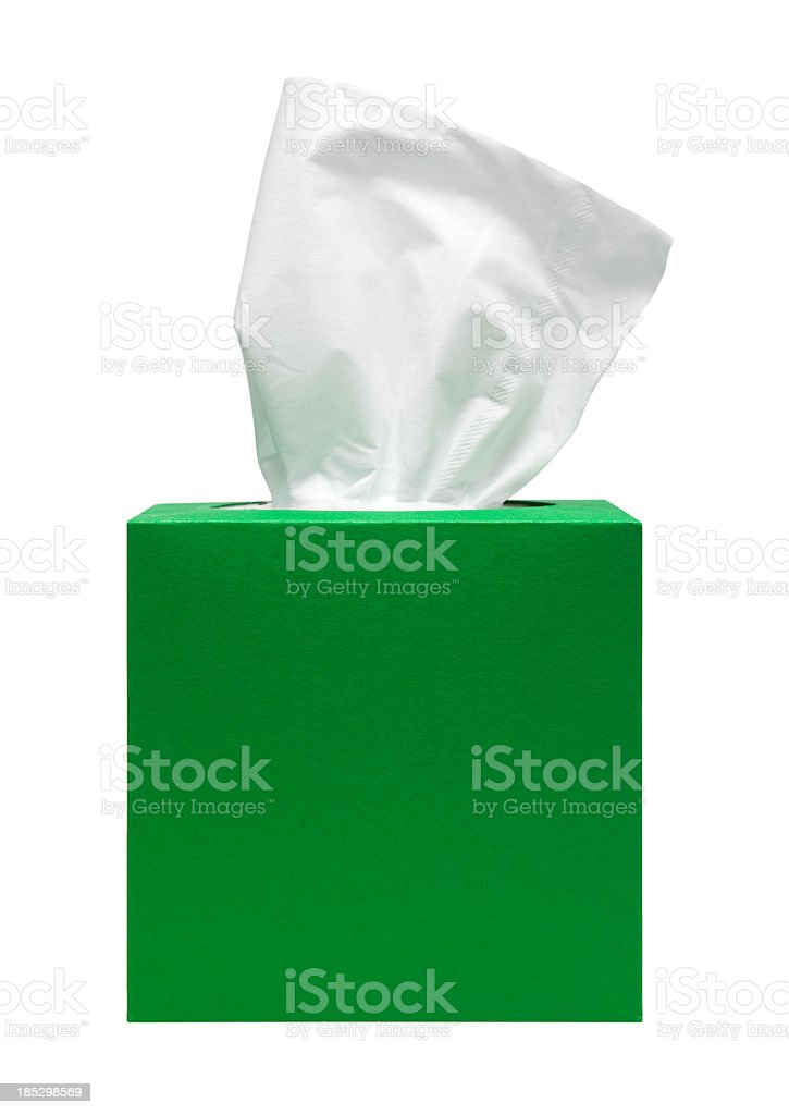 A green tissue box on white background stock photo
