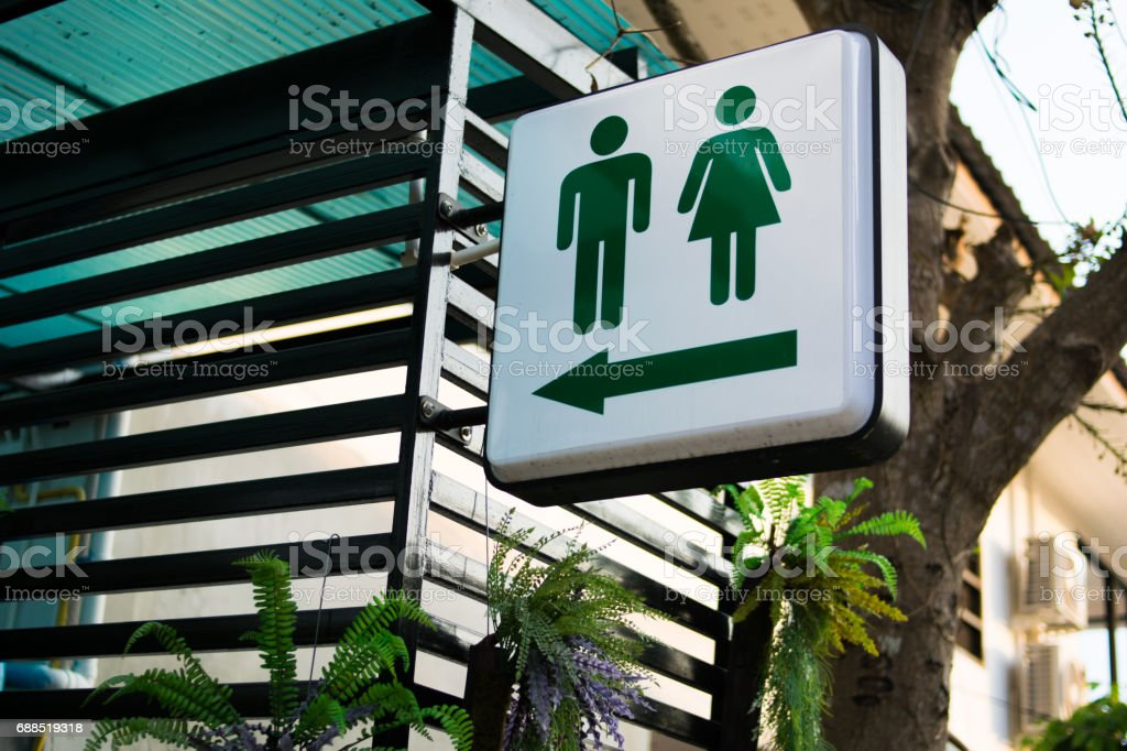 green toilet signs stock photo