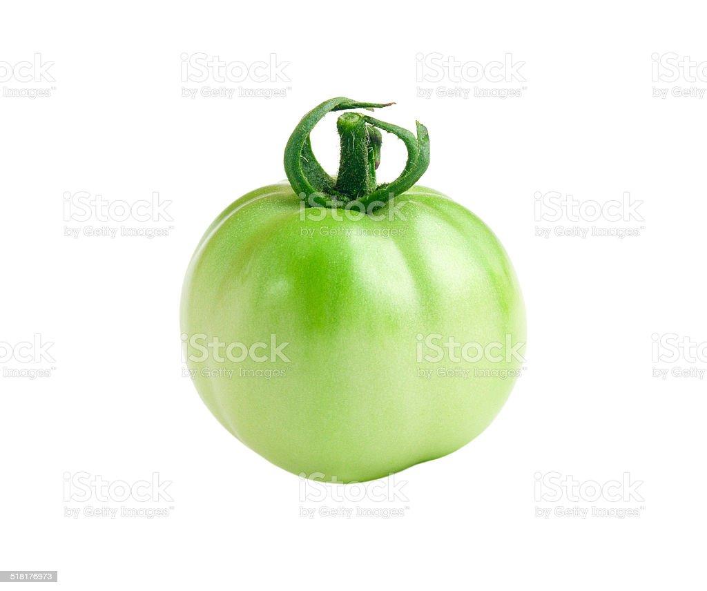 Green Tomato Isolated on White stock photo