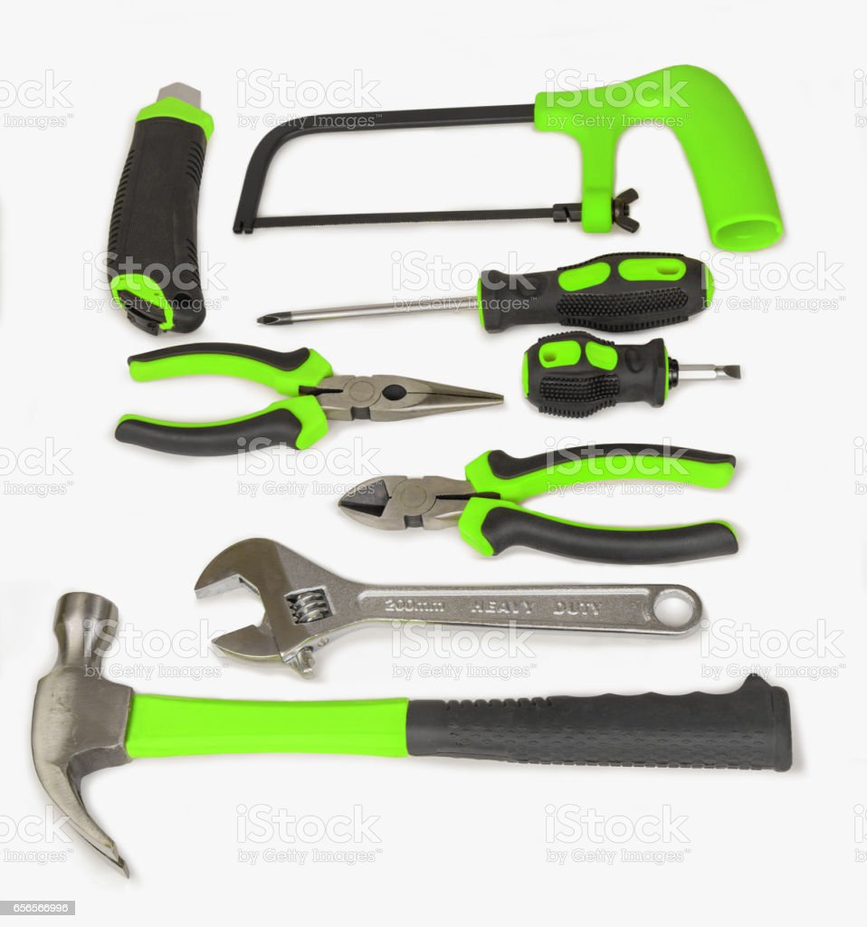 Green tools set isolated on white background stock photo
