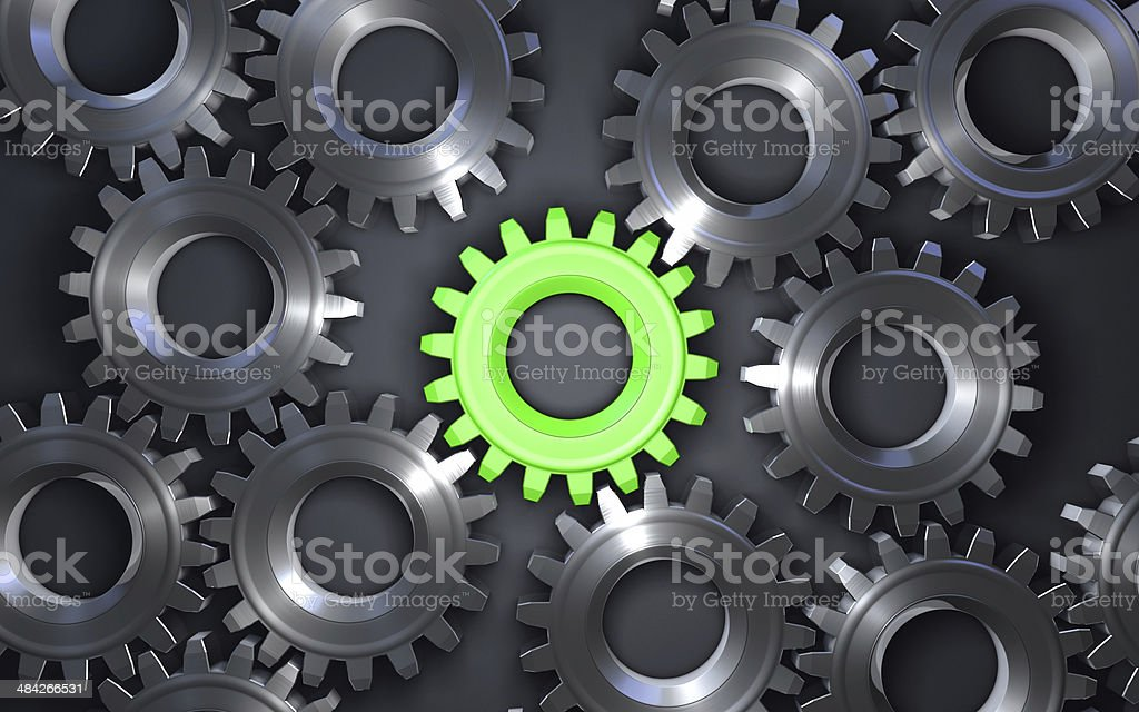 Green toothed wheel stock photo