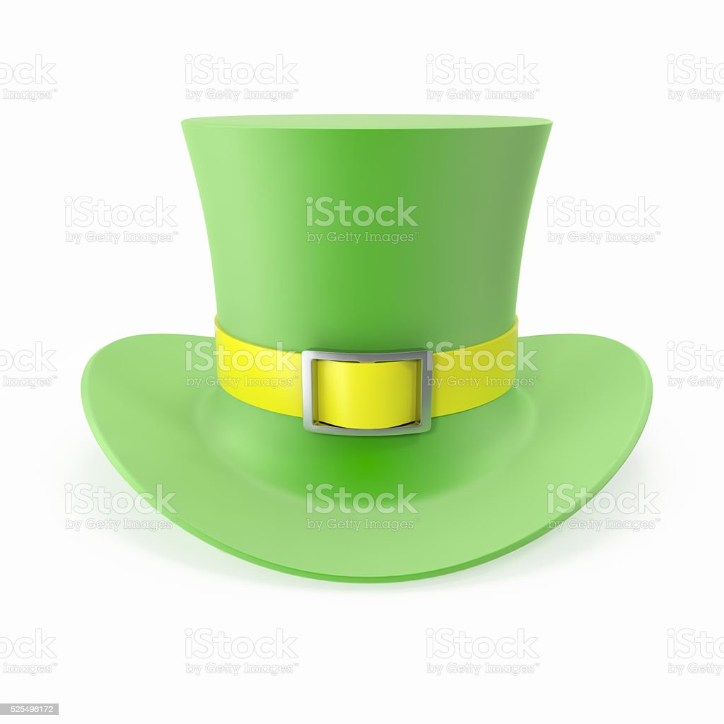 Green Top Hat, St Patricks hat. Isolated on white background stock photo