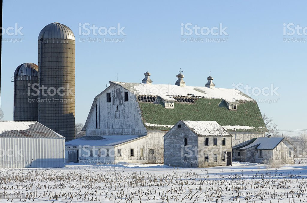 Green Topped Barn and Two Silos royalty-free stock photo