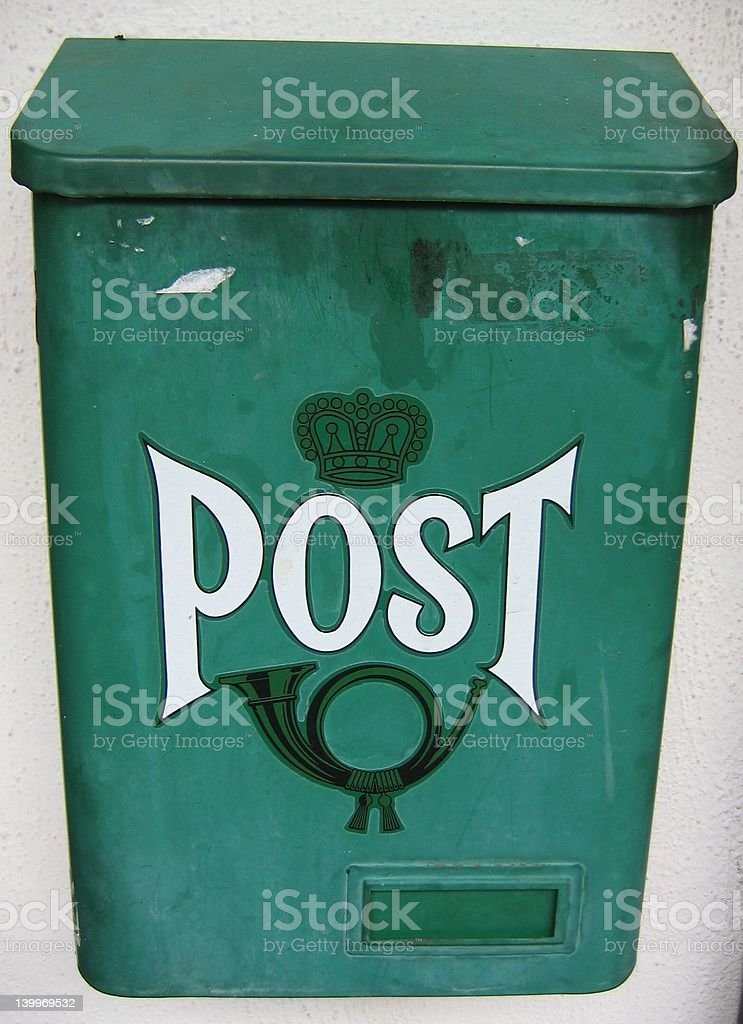 Green Traditional  Mail Box stock photo