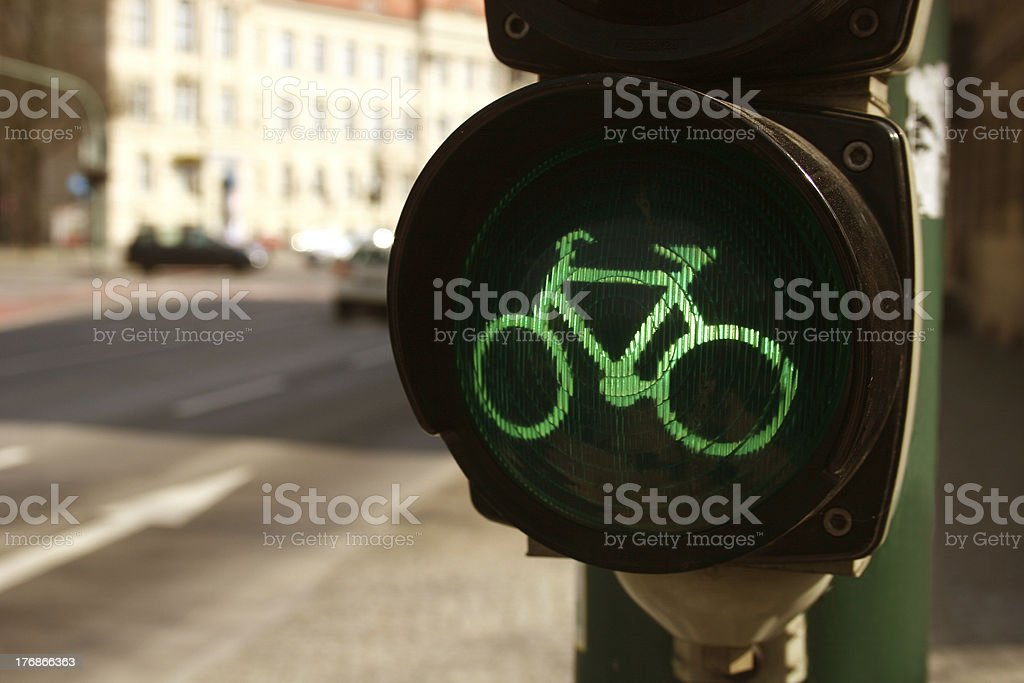 Green traffic light for bicycles royalty-free stock photo