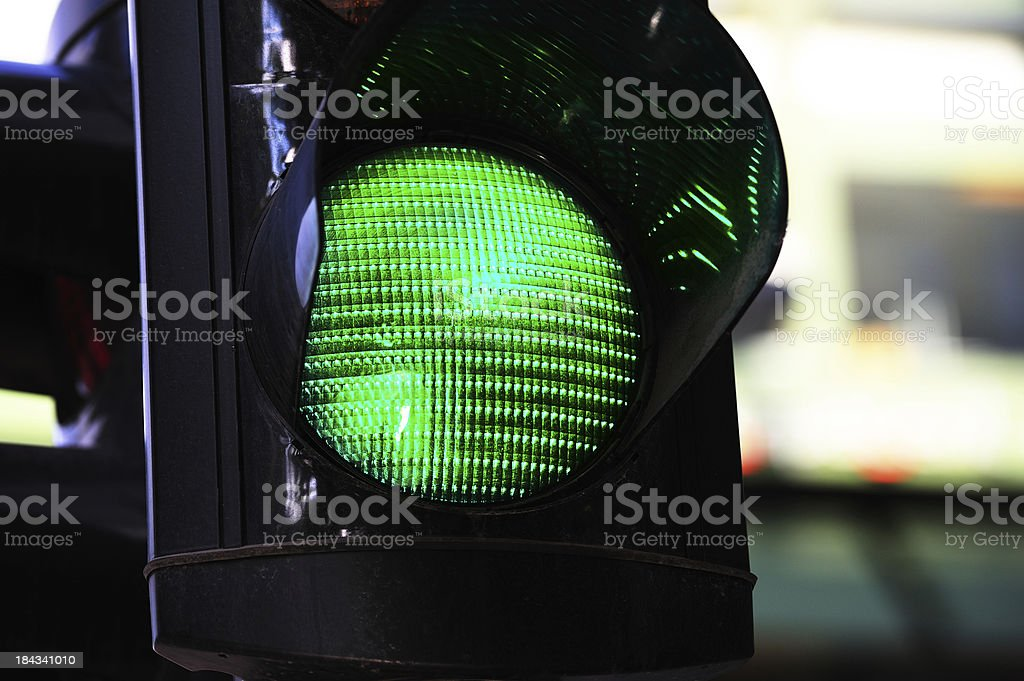 Green traffic light in city stock photo