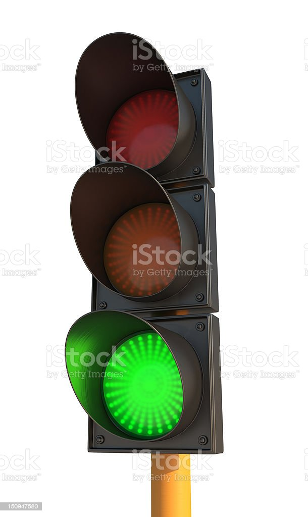 Green Traffic Light on White Isolated Background stock photo
