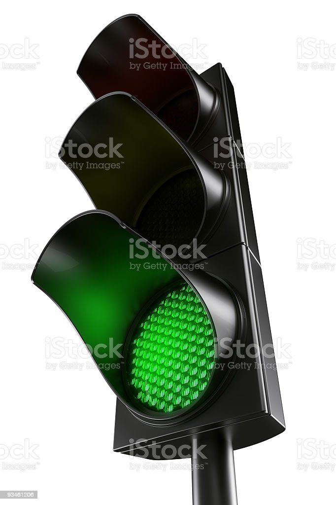 green traffic light stock photo