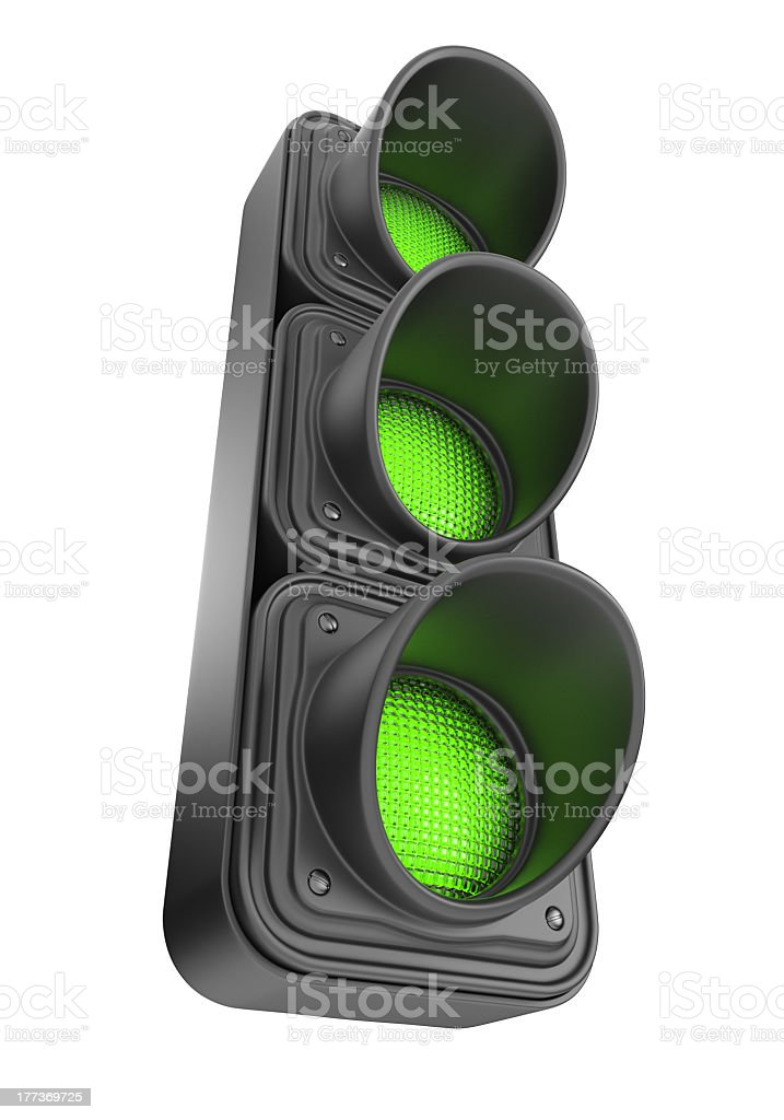 Green traffic lights. 3D Icon isolated stock photo