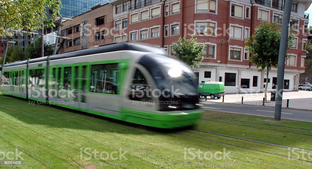 Green Tram stock photo