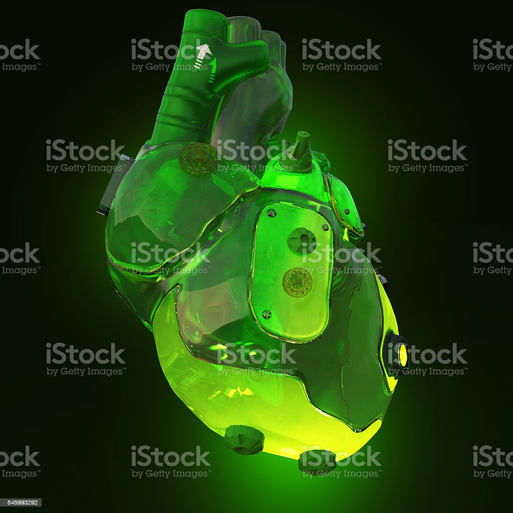 green translucent toxic acid glowing techno cyber heart, isolated on stock photo