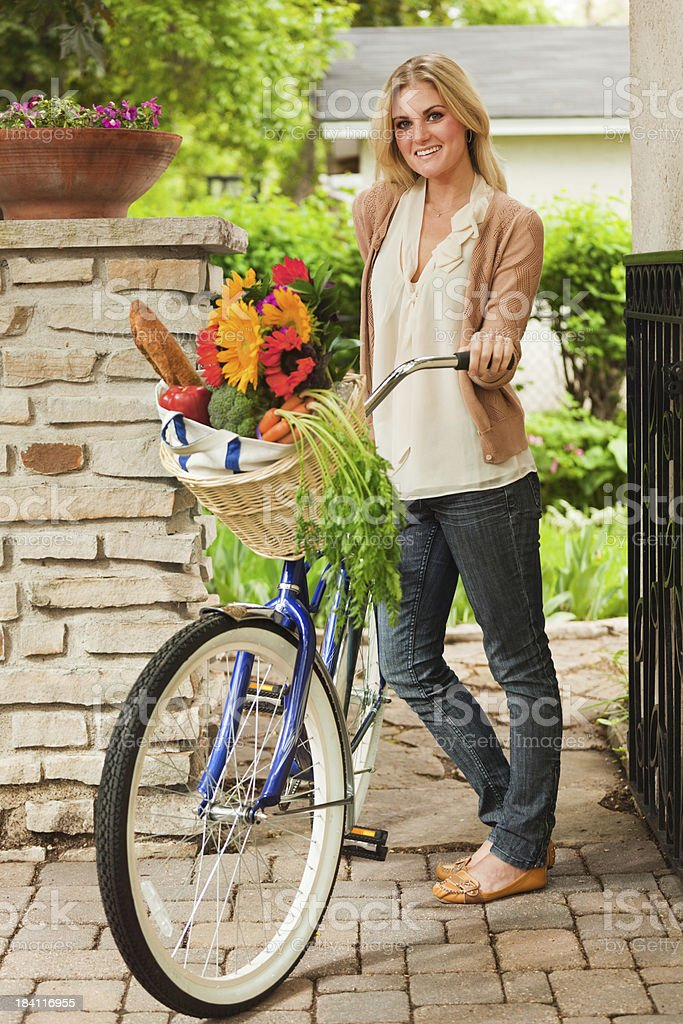 Green Transportation - Using Bicycle for Grocery Shopping Vt royalty-free stock photo
