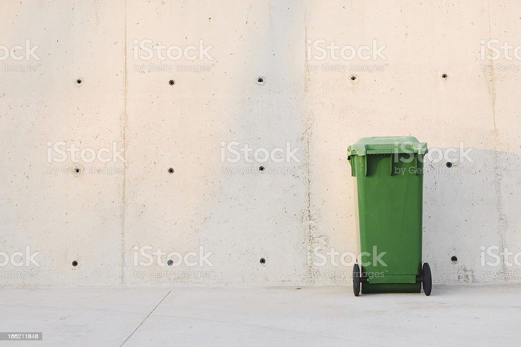 Green trash bin royalty-free stock photo