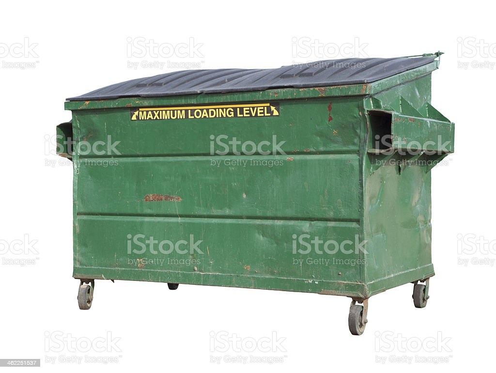 Green Trash or Recycle Dumpster On White with Clipping Path stock photo
