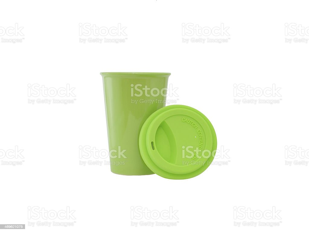 Green Travel Coffe Mug stock photo