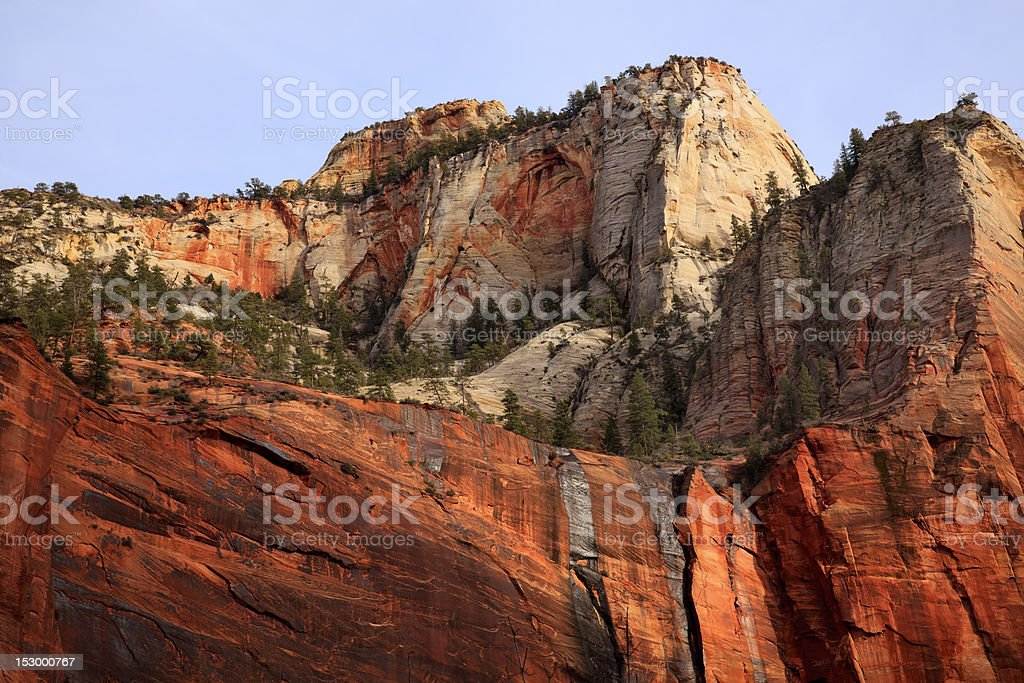 Green Trees Red White Canyon Walls Zion National Park Utah royalty-free stock photo