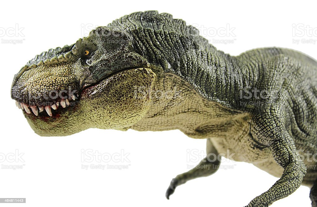 Green T-Rex with a bloody mouth stock photo