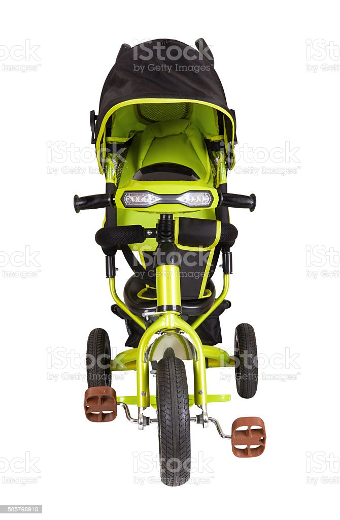 Green tricycle isolated stock photo