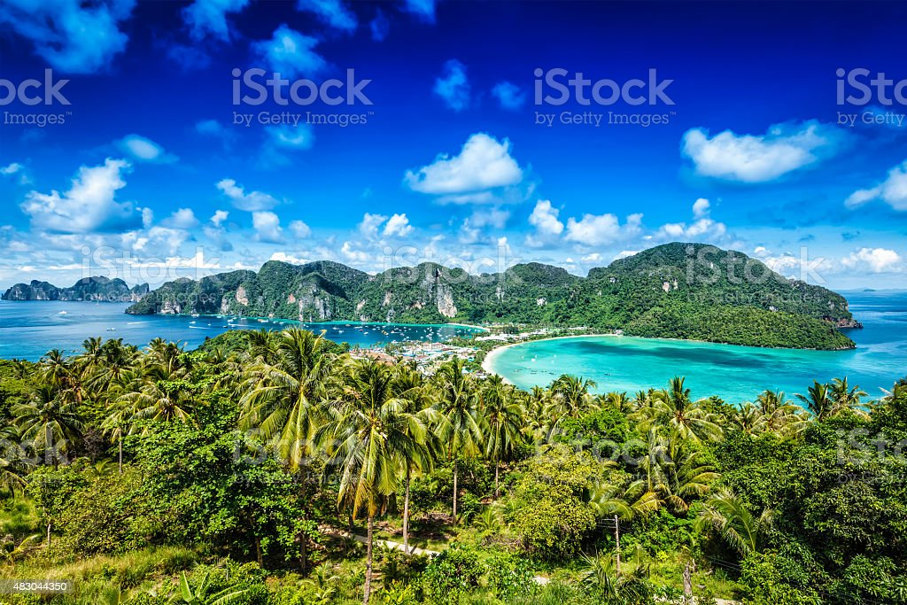 Green tropical island stock photo