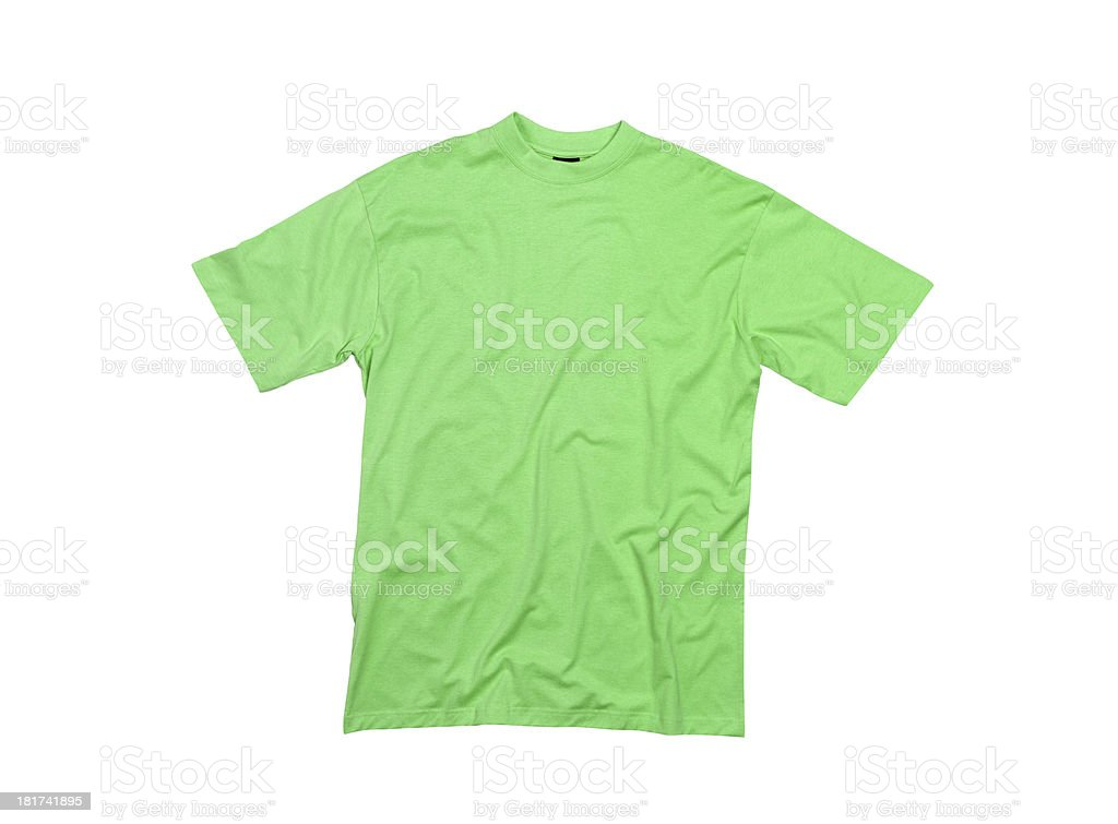 Green T-shirt isolated on white background royalty-free stock photo