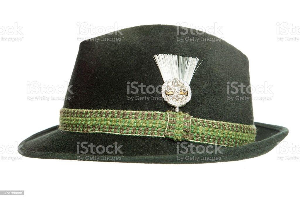 Green Tyrolean Ocktoberfest Bavarian hat stock photo