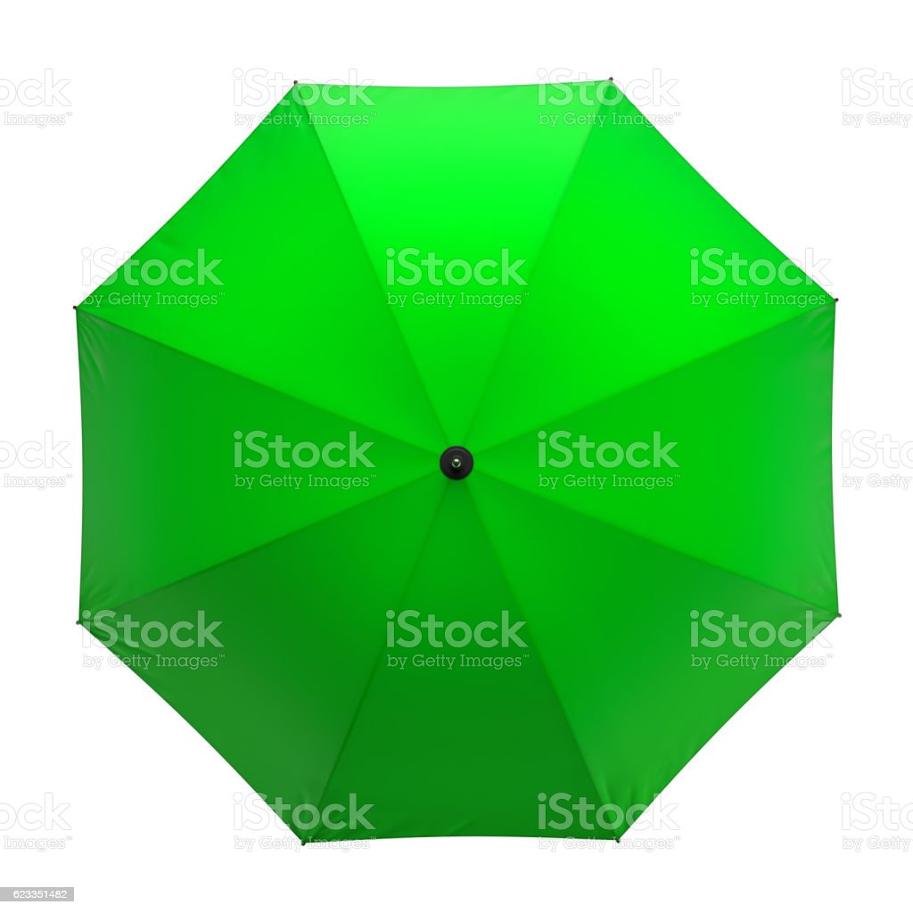 Green umbrella isolated on white background. 3D illustration . stock photo