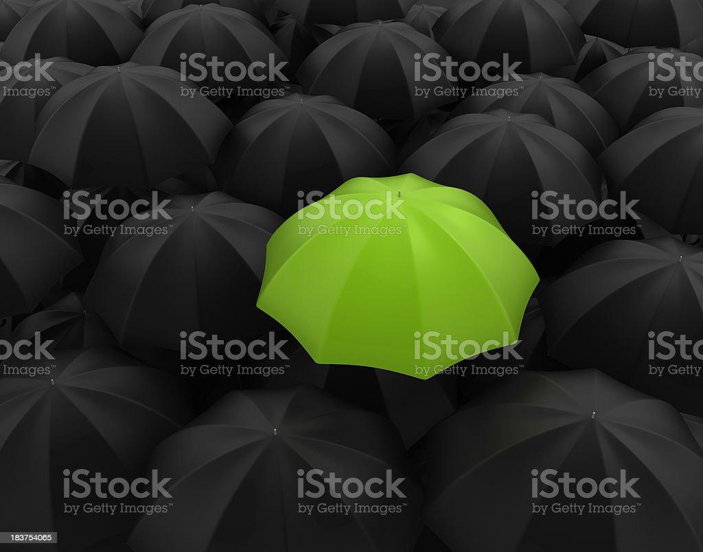 3D Green umbrella royalty-free stock photo