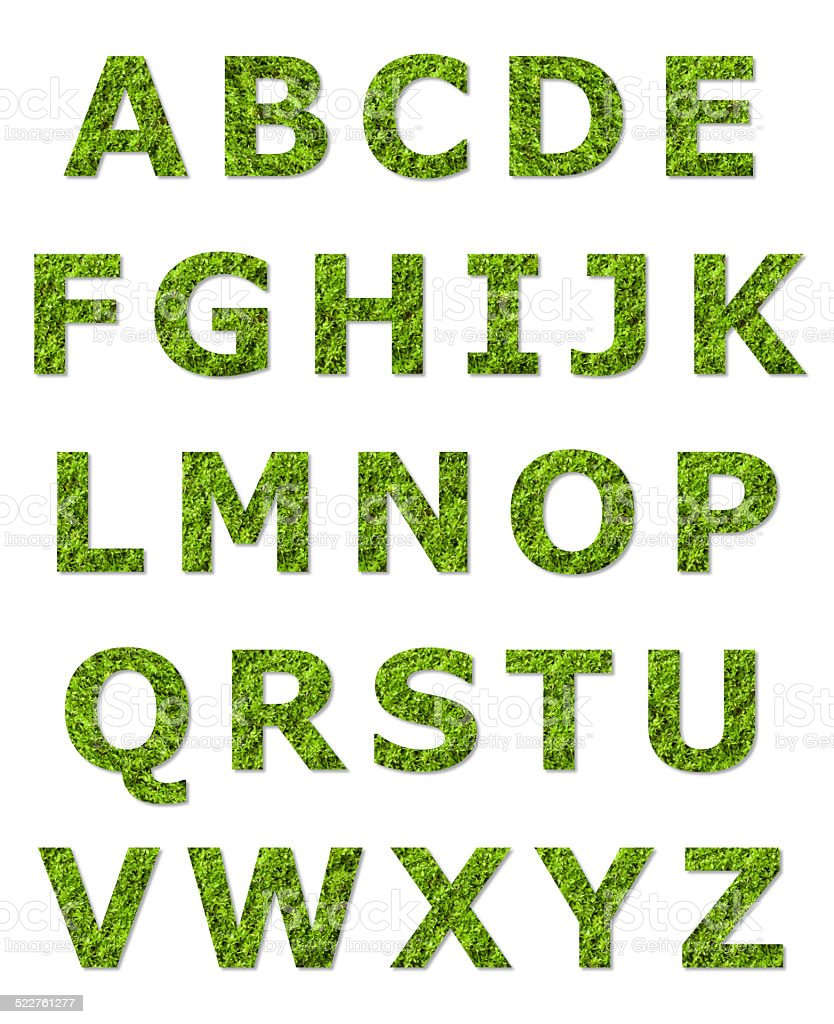 green upper case letter stock photo