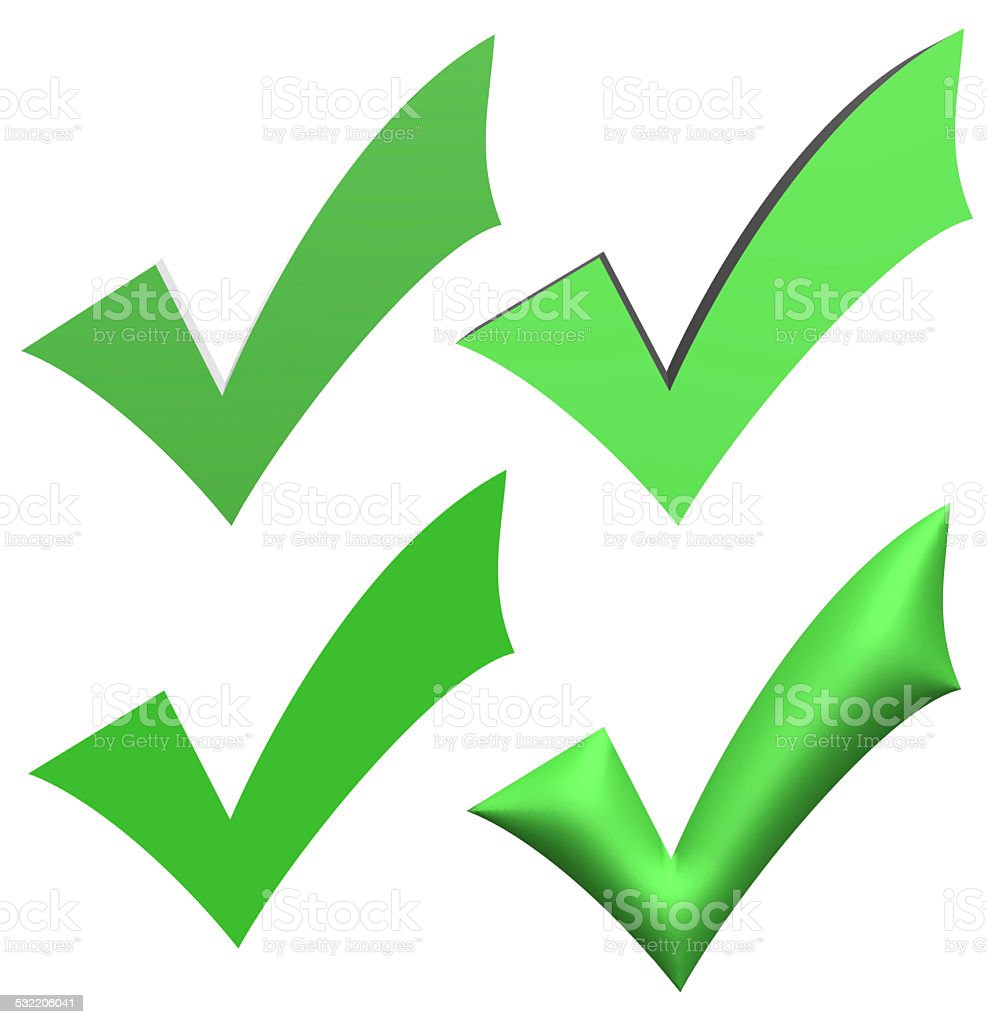 Green V check marks stock photo
