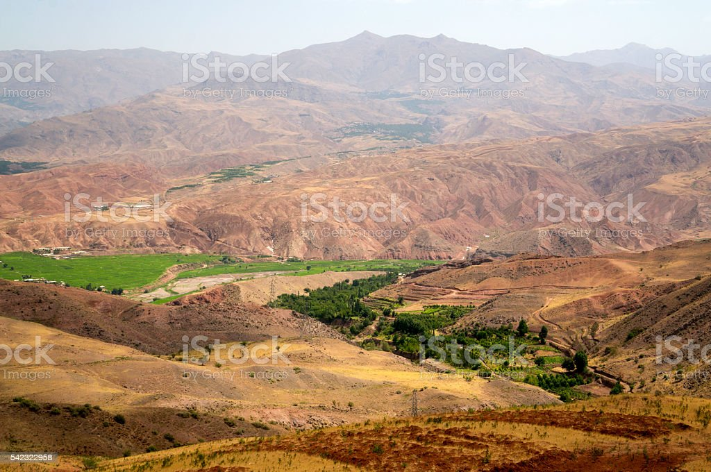 Green valley and mountains around Alamut region in Iran stock photo