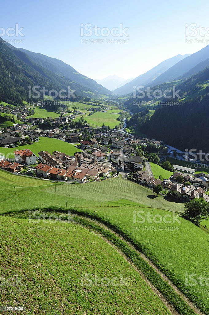 Green valley in the Alps stock photo