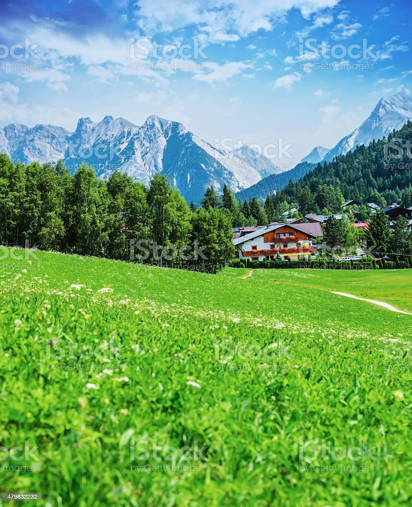 Green valley in the mountains stock photo