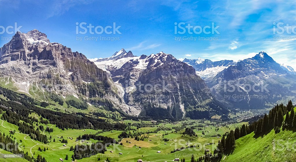 Green valley in the swiss Alps stock photo