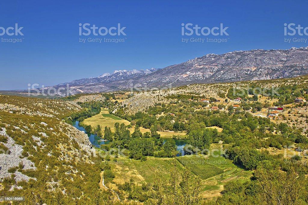 Green valley of Zrmanja river stock photo
