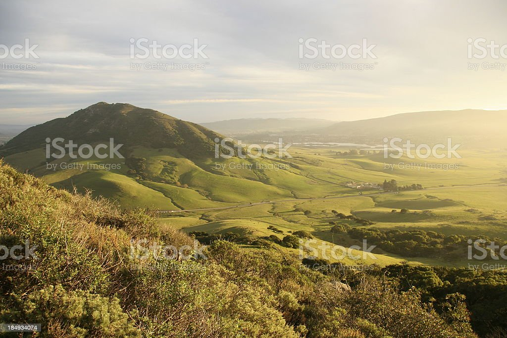 Green valley with mountain 2 stock photo