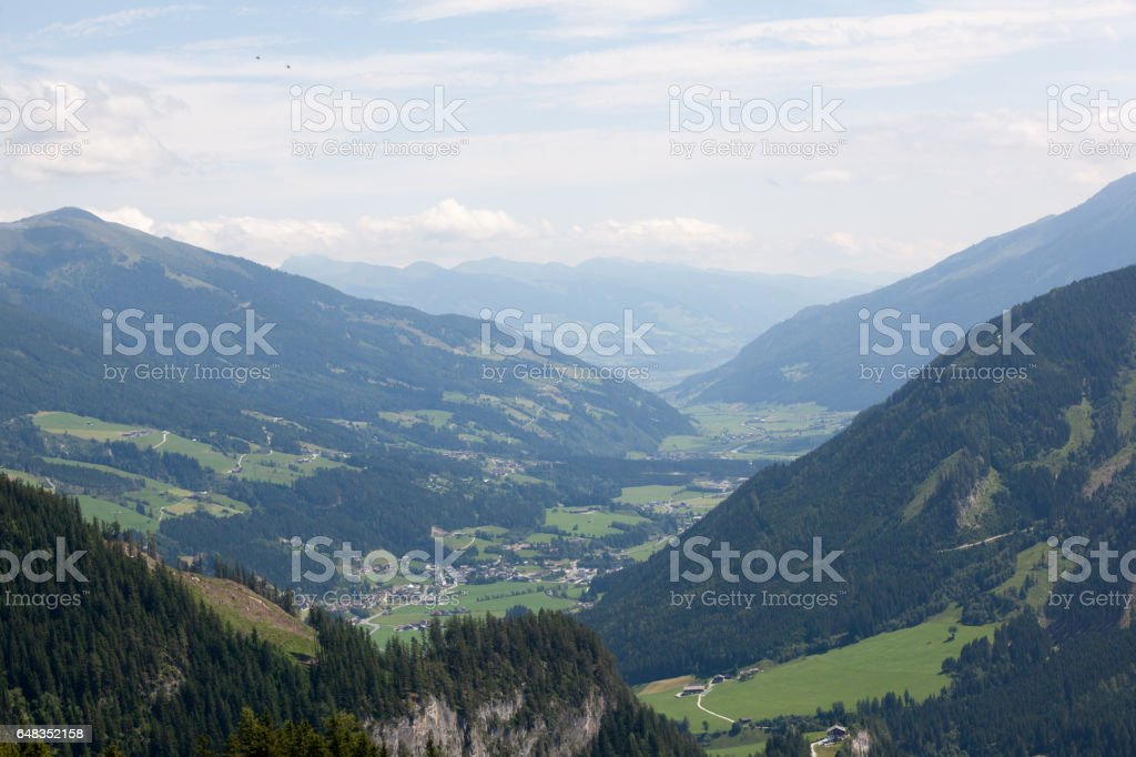 Green valleys and high peaks stock photo