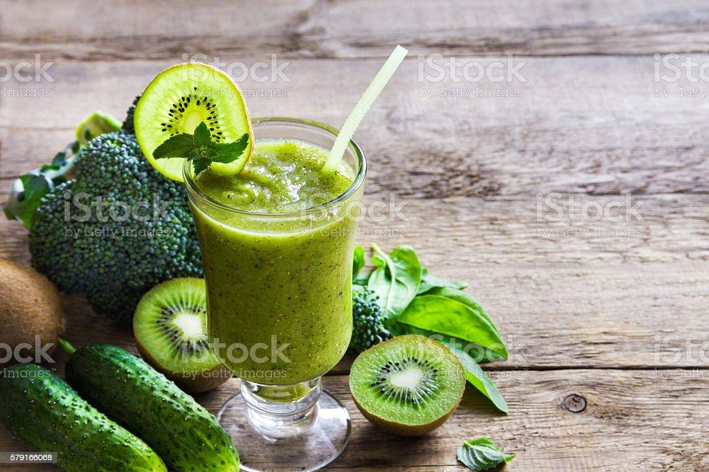 Green vegetable smoothie stock photo