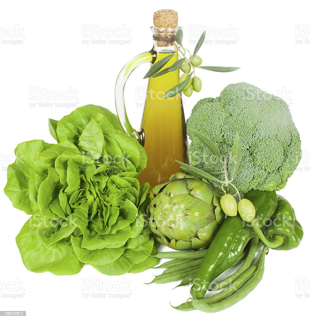 green  vegetables and  olive oil royalty-free stock photo