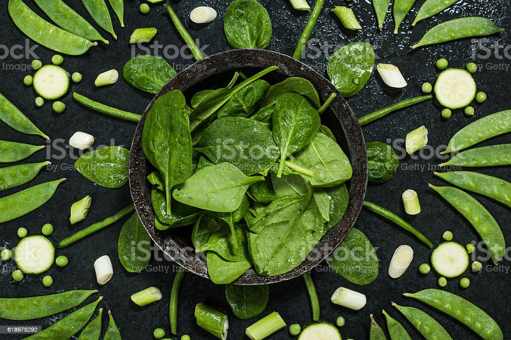 Green vegetables arranged stock photo