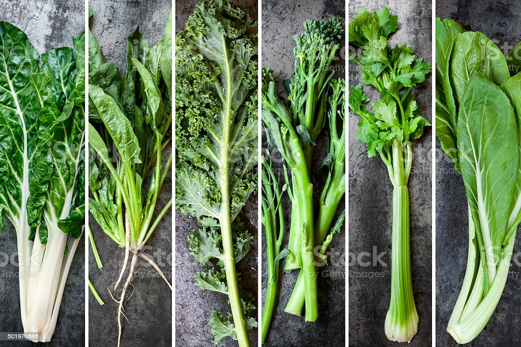 Green Vegetables Food Collage stock photo