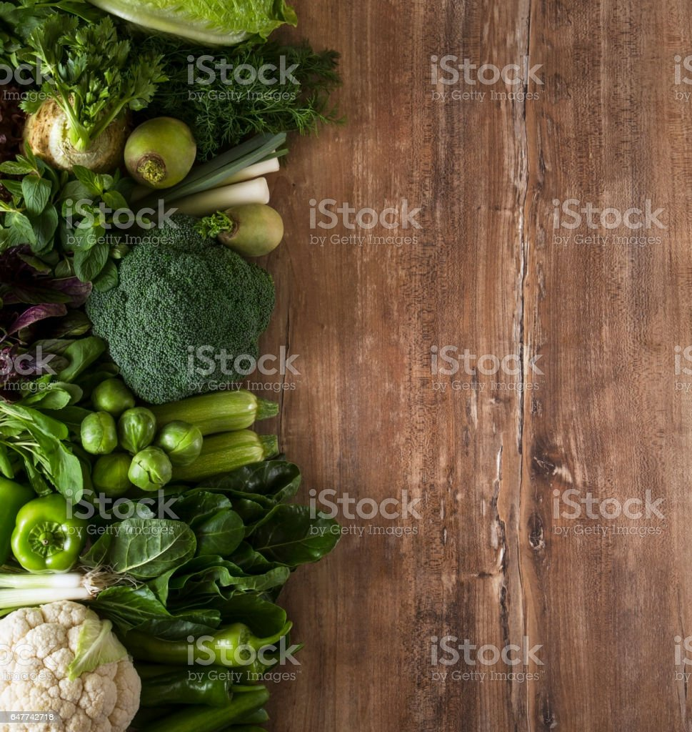 Green Vegetables on Kitchen Table stock photo