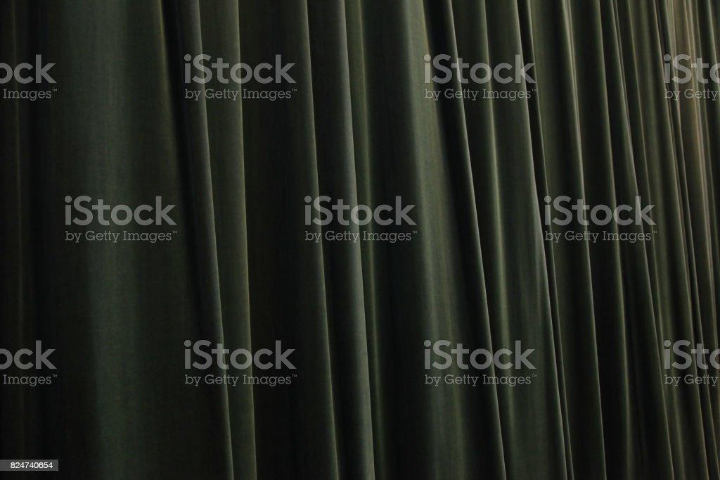 Green Velvet Curtain stock photo