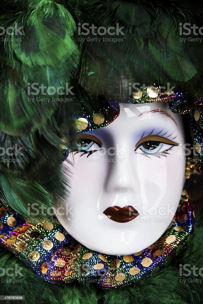 green venetian mask stock photo