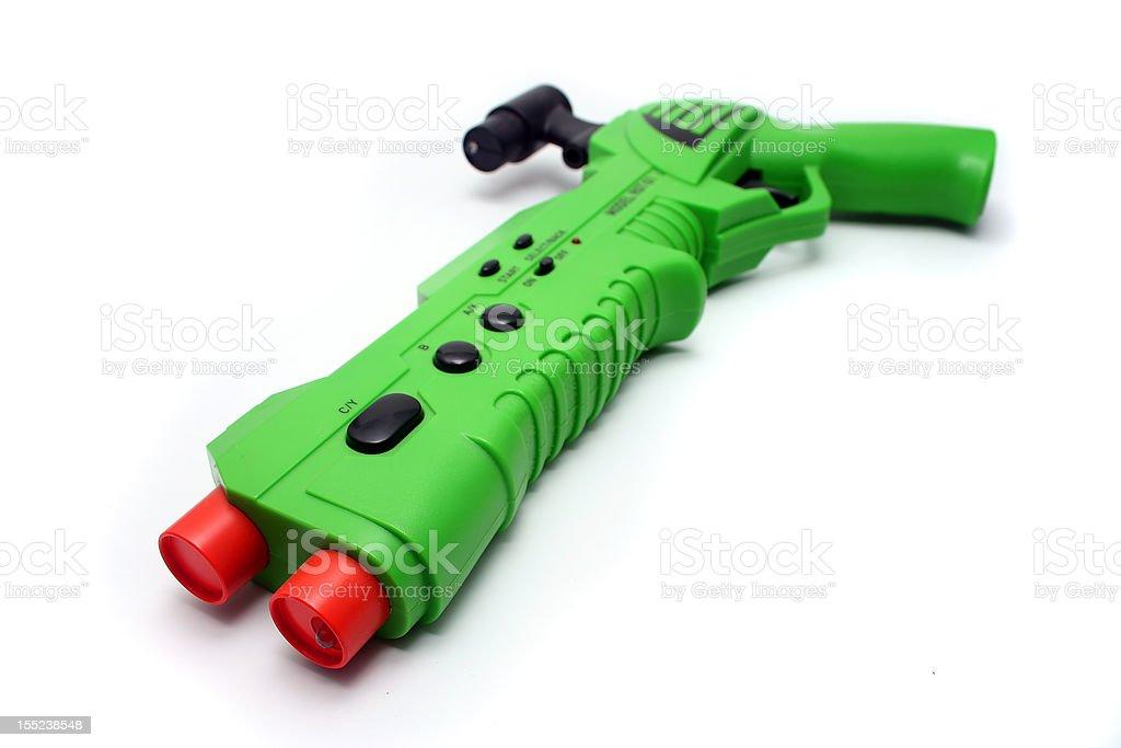 Green Video Game Gun Controller on White royalty-free stock photo
