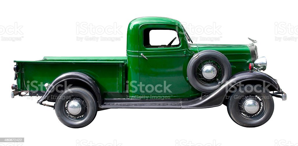 Green vintage pickup truck from 1930s stock photo